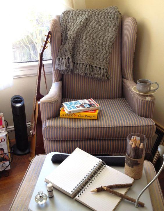 reading corner with stripes chair, stripes ottoman, near the window