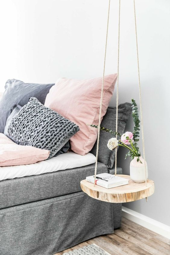 round small swinging bedside table