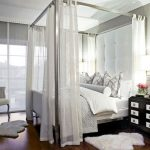 Shite Bed With White High Ehadboar, Silver Aluminum Canopy Posts, White Lace Canopy