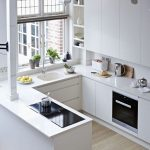 Small Kitchen With White Cabinet On Top, Under, White Kitchen Top, White Sink, Shelves, Large Windows