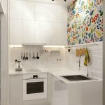 Small Kitchen With White Cabinet, White Tiles Backsplash, Colorful Wallpaper, White Patterned Tiles
