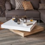 Square Adjusted Coffee Table With Two Levels, White Top, Wooden Under,