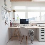 Study Area With White Chair, Brown Table With White Cabinet, Wall Table Lamp, Wall Notes, In Front Of The Window