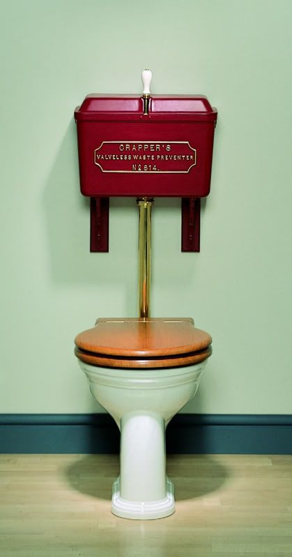 toilet with cast metal cistern, cistern brackets, flushpipe, oval seat in either Oak or Mahogany and a 'Venerable' wc pan