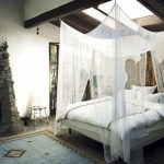 White Bed With Rope For Bed Canopy, White Seer Material