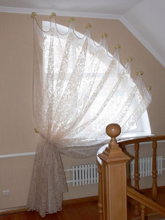 white lace curtain for dormer windows with hooks attached to the outermost line