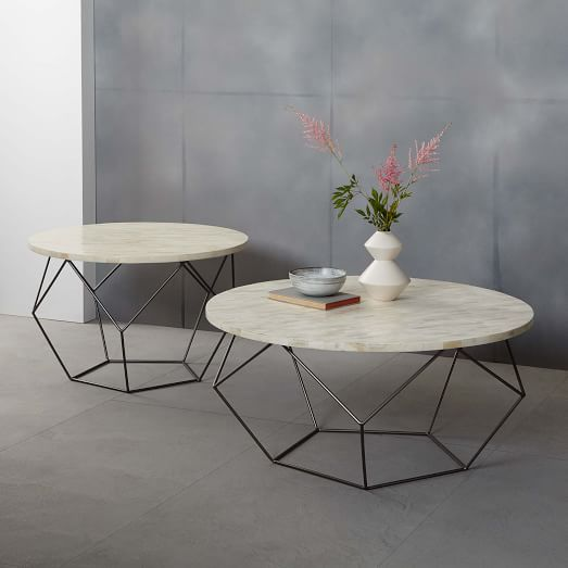 white marble top round coffee table with metal geometrical legs