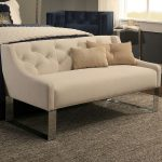 White Sofa Bench With Tufted Buttoned Back, Metal Legs