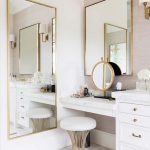 White Table And Drawer With White Marble Top, Square Mirror And Small Round Mirror On The Table, Larger Rectangular Mirror On The Back, White Cushioined Stool