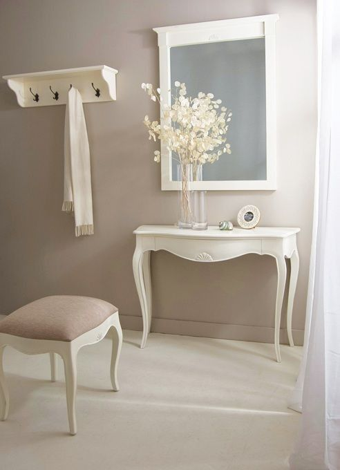white wooden console table with curve in the middle front, curvy legs. square mirror
