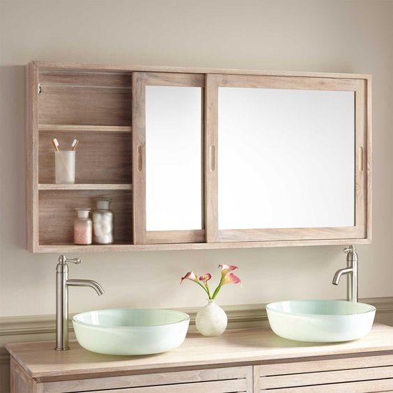 wooden bathroom shelves with sliding mirror
