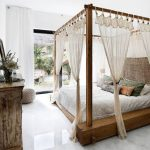 Wooden Canopy Platform Bed With White Bed, Beige Canopy