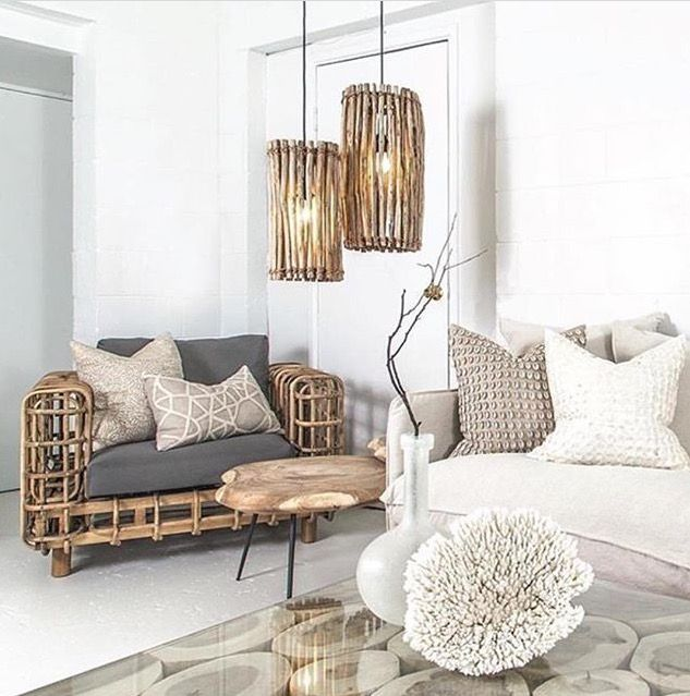 wooden chair with bamboo, grey cushion, wooden round coffee table, ba,boo covered pendant