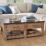 Wooden Coffee Table With Black Wooden Top, Shelvse, Drawers Under