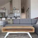 Wooden Coffee Table With Box Rectangular Shape, White Legs