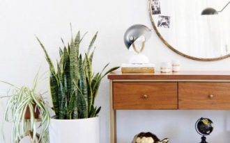 wooden console table with two drawers, shelf under, round mirror, plants, books, lamp