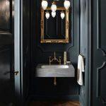 Wooden Floor, Marble Sink, Golden Frame Mirror, Chandelier, Black Wall