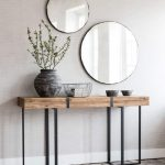 Wooden Rustic Console Table With Wooden Top, Black Metal Support, Case, Two Rounds Mirror
