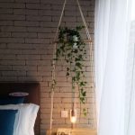 Wooden Square Board Swing With Plants On Top