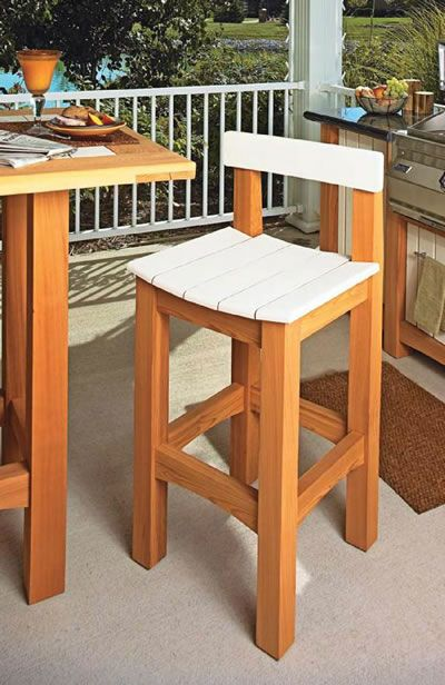 wooden stool with white painted seat and back