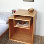 Wooden Unique Designed Square Bedside Shelves