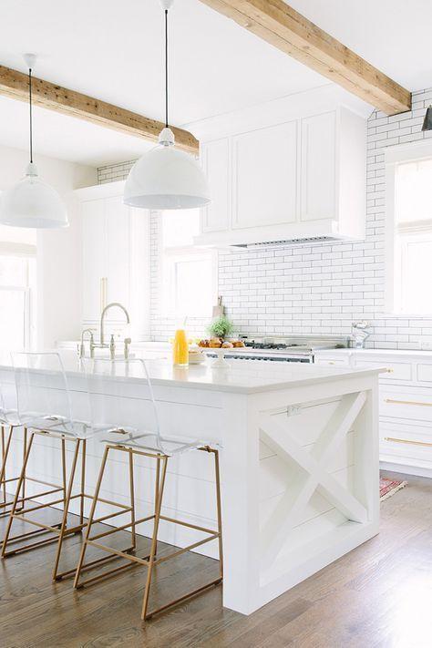 acrylic bar stool with back, golden legs, white kitchen island, white subway wall tiles, white cover pendant