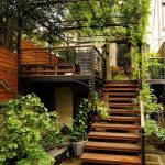 Backyard With Gren Vines On The Pergolla Roof, Railing, Ground, Wooden Stairs, Wooden Wall