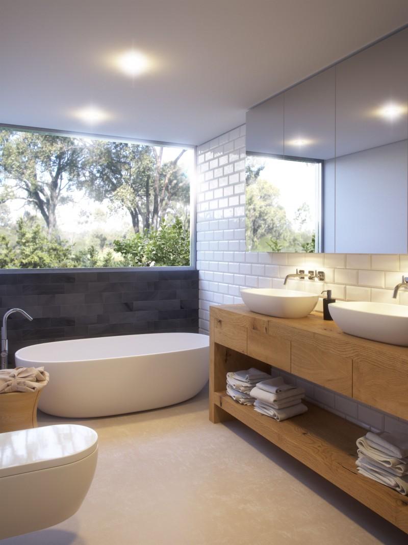 bathroom, beige floor, white toilet, wooden cabinet shelves, white sink, white tub, white subway ties, mirror, top half glass wall