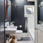 Bathroom, Dark Walls, White Tiles On Tub Area, White Area, White Toilet, White Floating Sink, Rattan Basket, Floor Tiles Combination