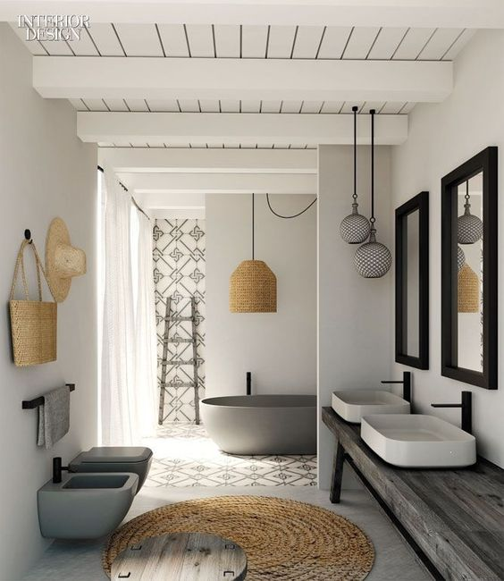bathroom, grey floor, white wall, wooden vanity with white sink, grey toilet, grey tub, rattan round rug, white wooden ceiling