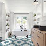 Bathroom, Patterned Floor Tiles, Wooden Cabinet, Black Sinks, White Wooden Wall, White Wooden Ceiling, Built In Shelves, Pendant