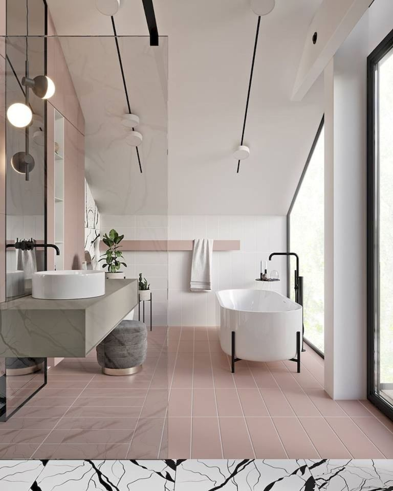 bathroom, pink floor tiles, white wall, white ceiling wall, acrylic partition, grey marble vanity with white sink, pink wall with built in shelves, white tub, glass window