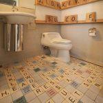 Bathroom, Scrabble Floor Tiles, Grey Wall, Scrabble Decoration On Wall, White Sink, Mirror