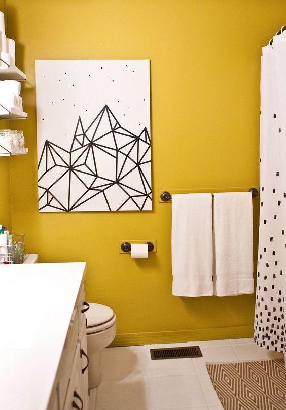 bathroom, white floor tiles, yellow painted wall, white toilet, white cabinet, white curtain, white painting, white floating shelves