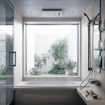 Bathroom, White Floor, White Rug, White Wall, White Tub, Shower, Floating Shelves, Mirror, Large Square Windows