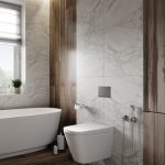 Bathroom, White Marbl On The Wall, Wooden Floor, Wooden Accent Wall, White Toilet, White Tub