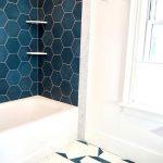 Bathroom, White Marble, White Tub, Green Hexagon Wall Tiles, Blue White Geometric Tiles