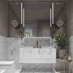 Bathroom, White Marble With Black Pattern On Floor, Vanity, Shelves, Accent Wall, Tiles On The Wall, Big Square Mirror, Two Round Mirror