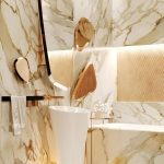Bathroom, White Yellow Brown Marble Tiles, Golden Accent Near The Mirror, White Sink