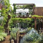 Beautiful Garden On Second And Third Level, Plants On Pergolla Roof, Stairs, Net Roof, Railing
