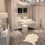 Bedroom, Grey Floor, Off White Wall, Grey Bed With Canopy, White Elegant Cabinet, Chandelier