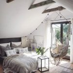 Bedroom Swing With Fringes, Pillow Cushion, Wooden Floor, Low Bed, Vaulted Ceiling, Wooden Beams, Rug, Glass Door