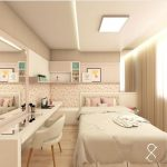 Bedroom, Wooden Floor, Pink Nuance Wall, Off White Bedding, White Table, White Chair, Mirror, Floating Cabinet And Shelves