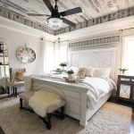 Bedroom, Wooden Floor, Rug, White Bed Platform, White Bedding, White Wall, Light Wooden Ceiling, Ceiling Fan, Beige Bench