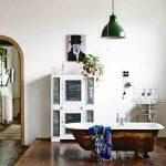 Bedroom, Wooden Floor, White Bedding, Wooden Upstaged Floor With White Cabinet, Sink, Rustedlook Sink