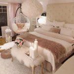 Bedroom, Wooden Floor, White Rug, White Fur Bench, White Bedding, White Wall, White Fur Chandelier, White Swing Chair