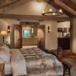 Bedroom, Wooden Floor, White Wall, Sconces, Floor Lamp, Wooden Door, Chandelier, Wooden Beams, White Bed