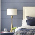 Bedside Table Lamp With Brass, White Cover, Black Cabinet, Blue Wall, White Bed Headboard