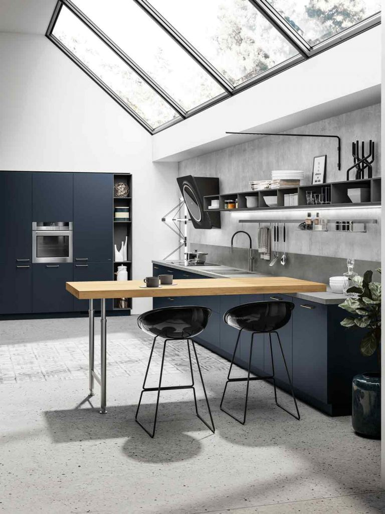 black modern bar stool in wooden top table island, grey floor, grey wall, modern kitchen, black cabinet, black cupboard, ceiling glass