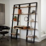 Black Wooden Ladder With Brown Wooden Shelves And A Table, Black Leather Office Chair